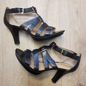 Naturalizer Black Leather Gladiator Heels Size 8.5